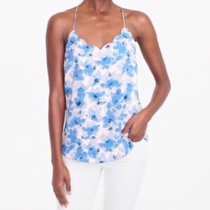 J. Crew Factory Floral Scalloped Racerback Top